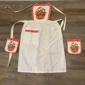New Bib Apron and 2 Pot Holder Hot Pads White Red